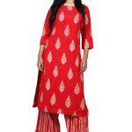 Jaipur Stuff Women Red Printed Kurta Palazzo Set