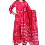 Jaipur Stuff Women A- Line Pink Pom Pom Kurta with Matching Pants And Dupatta Set