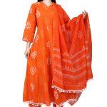 Jaipur Stuff Women A- Line Orange Pom Pom Kurta with Matching Pants And Dupatta Set