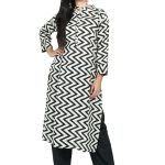 Jaipur Stuff Women Off White Kurta With Black Zig Zag Print Matching Pants Set