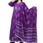 Jaipur Stuff Women A- Line Purple Pom Pom Kurta with Matching Pants And Dupatta Set | Three Piece Set