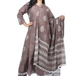 Jaipur Stuff Women A- Line Brown Pom Pom Kurta with Matching Pants And Dupatta Set | Three Piece Set
