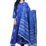 Jaipur Stuff Women A- Line Blue Pom Pom Kurta with Matching Pants And Dupatta Set | Three Piece Set