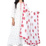 Jaipur Stuff Women A- Line White Color With Golden Floral Kurta with Matching Pants And Floral Dupatta Set | Three Piece Set