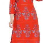 Women Kurta and Pant Set Pure Cotton (Red)
